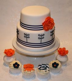 Nautical cake and cupcakes