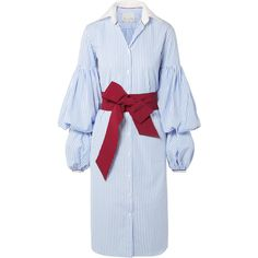 Johanna Ortiz La Henrecia bow-embellished striped cotton-poplin dress (€810) ❤ liked on Polyvore featuring dresses, day dresses, blue, loose dress, cotton poplin dress, loose striped dress, loose sleeve dress and blue stripe dress