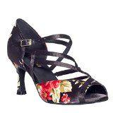 #3: Dayiss Damen Latein Schuhe Blumenmuster Tanzschuhe mit Absatz - Standard & Latein