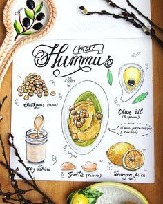 Doodlewash - Illustration by Elena New Recipes, Vegan Recipes, Cooking Recipes, Food Journal, Recipe Journal, Scrapbook Recipe Book, Food Art Painting, Recipe Drawing, Hummus Recipe