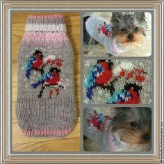 """Одежда для собак, ручной работы. Ярмарка Мастеров - ручная работа. Купить свитер для собаки """"Снегири на веточке"""". Handmade. Вязание спицами"""