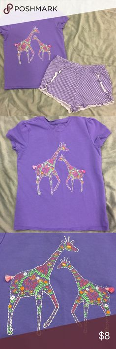 Girls Shorts and T-shirt EUC. Girls summer shorts set. T-shirt is size 6, shorts are size 5. Adorable mommy and baby giraffe design. No stains or tears. Shorts have some fading from wash and wear and could use an iron. Lots of fun left in this set! j khaki Bottoms Shorts