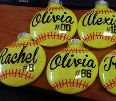 These popular ornaments make the perfect gift or keepsake for your favorite softball enthusiast. Great team gift for end of season parties and they make great gifts for coaches. Order one for each player on the team! 3 plastic disc shaped ornament with bright yellow glitter inside. One #basketballcoaching Softball Team Gifts, Softball Crafts, Softball Mom, Baseball Mom, Softball Party Decorations, Baseball Girlfriend, Softball Quotes, Locker Decorations, Baseball Shirts
