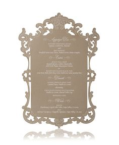 Laser cut luxury wedding menu cut into a decorative shape made to mimic a Venetian mirror Circus Wedding, Star Wedding, Wedding Menu, Wedding Paper, Wedding Ceremony, Wedding Planning, Wedding Stuff, Wedding Ideas, Laser Cut Wedding Invitations