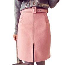 Новинка длиной до колена - высокая талия шерсть юбка зимы женщин юбки 2016 сплит сексуальные юбки карандаш Bodycon офис носить ж / пояса(China (Mainland))