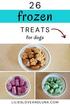 26 frozen dog treats to make for your dog this summer. Dog Treat Recipes, Dog Food Recipes, Frozen Dog Treats, Homemade Dog Treats, Food Hacks, Lily, Pet Food, Dog Stuff, Breakfast