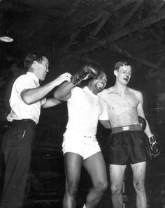 "George Plimpton, after his boxing match with Archie Moore. Plimpton's experience in the ring led to his book, ""Shadow Box: An Amateur in the Ring."" As he wrote, ""I suffer from a condition which the medical profession refers to as sympathetic response, which means that when I am hit or cuffed around, I weep. It is an involuntary response. The tears come and there is nothing I can do except dab at them with a fist."" #boxing"