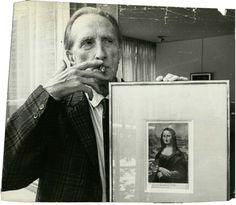 "Portrait of Marcel Duchamp with his work ""L.H.O.O.Q."", Paris, 1965. Ph. Nat Fein  http://www.pinterest.com/smithlili/marcel-duchamp/"