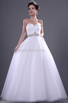 Cheap Wedding Gown - Discount Sweetheart Neckline Beaded Floor Length Tulle Wedding Gown Online with $146.86/Piece | DHgate