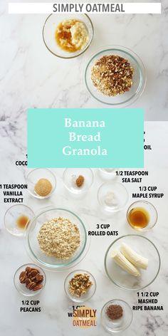 Banana Bread With Oil, Oatmeal Banana Bread, Baked Banana, Banana Recipes Easy, Oats Recipes, Pecan Rolls, Vegan Granola, Oat Bars, Meal Prep