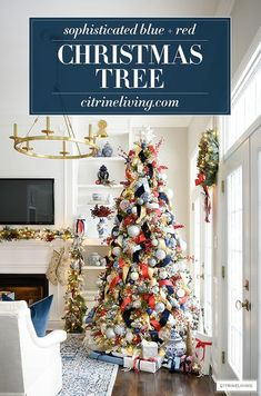 Gorgeous blue and red Christmas tree is a sophisticated and classic look! #christmastree #christmas #christmasdecor French Country Christmas, Country Christmas Decorations, Tree Decorations, Holiday Decor, Outdoor Christmas, Rustic Christmas, Christmas Home, Christmas Tree Ornaments, Christmas Crafts