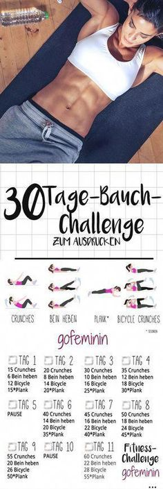 The 30 day belly challenge: bye rolls, hello six pack! - The 30 day belly challenge: bye rolls, hello six pack! Informations About Die 30 Tage Bauch-Challeng - Fitness Workouts, 30 Day Fitness, Sport Fitness, Body Fitness, Fun Workouts, At Home Workouts, Fitness Tips, Health Fitness, Rogue Fitness