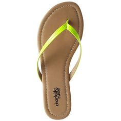Charlotte Russe Neon Yellow Seamed Patent Flip-Flop Sandals by... ($7.99) ❤ liked on Polyvore