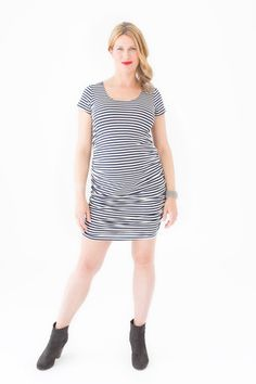 Cap Sleeved Ruched Dress – Belly Maternity Ruched Dress, Maternity Fashion, Shirt Dress, T Shirt, Cap Sleeves, Binky, Collection, Dresses, Shirred Dress