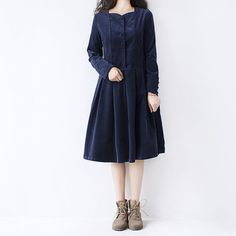 autumn spring new elastic corduroy pleated dress by ideacloth, $72.90