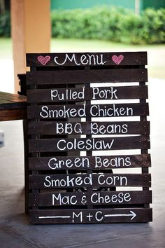 Wedding Reception wood pallet wedding menu DIY - Heather and Zach's soft and sweet rustic DIY wedding was held at The Newland Barn on the grounds of the oldest residence built in the city of Huntington Beach, CA. Diy Wedding Menu, Pallet Wedding, Rustic Wedding Signs, Our Wedding, Dream Wedding, Trendy Wedding, Rustic Country Weddings, Elegant Wedding, Rustic Signs