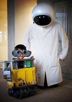 My friend, Anthony in costumes he made for him and his son, Benjamin. See how to here: http://www.instructables.com/id/Building-WALL-E-and-EVE/step10/null/ Even better...made out of mostly recycled materials!
