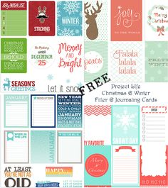 FREE Christmas & Winter themed journaling and filler cards for Project Life and other scrapbooking systems