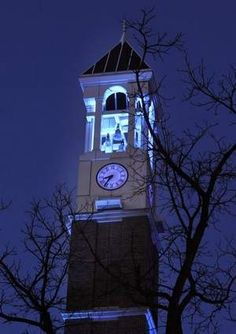 The Bell Tower at Purdue University in West Lafayette, Ind., lit by blue lights for World Autism Awareness Day and national Autism Awareness Month.