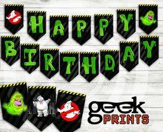 Happy Birthday Banner with Ghostbusters Theme Printable Ghostbusters Birthday Party, Ghostbusters Theme, Birthday Invitation Templates, Birthday Party Invitations, Invites, Aniversario Star Wars, 6th Birthday Parties, Birthday Ideas, Farm Birthday