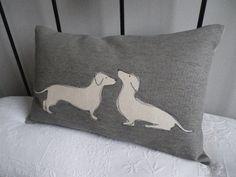 Hand printed daschund pair cushion- so cute and cozy