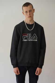"""<p>  <span style=""""background-image: initial; background-color: white;""""><span style=""""background-image: initial;"""">This blackFila sweatshirtmade in collaboration with GoshaRubchinskiy for his SS'17 collection are an absolute must-have for any occasion.</span>Matchyourlogo sweatshirtwith <a href=""""/catalog/product/80116/"""">sneakersfrom the same collection</a>.<br>  </span> </p> <p>  <span style=&quo..."""