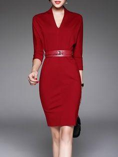afe1b445fd25 Burgundy 3 4 Sleeve V Neck Midi Dress with Belt Αριστοκρατικά Ρούχα