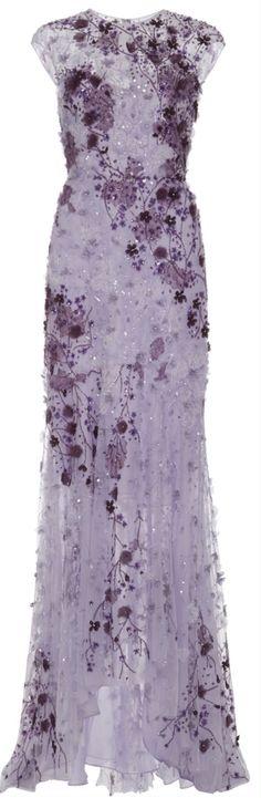 Monique Lhuillier Lavender Ombre Lace Embroidered Gown