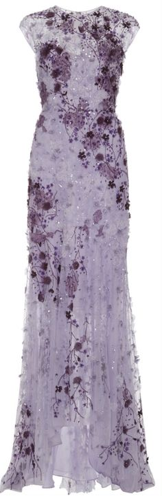 Monique Lhuillier Lavender Ombre Lace Embroidered Gown