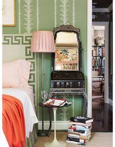 greek key headboard - love the wallpaper & coordinating textures