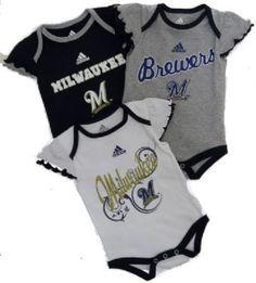 Brewers Newborn Girls Three Pack Bodysuits