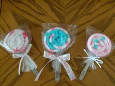 Washcloth Lollipops - baby gift