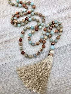 Aqua Terra Mala African Opal Amazonite & Antique Copper #beadedjewelry