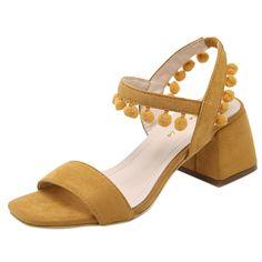 Peep Toe Block Heels Ankle Buckle Solid Sandals - OASAP.com