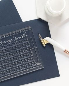 When taking your modern calligraphy practice to the next level, you need to invest in good calligraphy supplies like this addressing guide. Click to purchase this amazing guide and check out other calligraphy fonts calligraphy alphabets and calligraphy tools while you're there! Calligraphy Supplies, Calligraphy Paper, Calligraphy Video, Calligraphy For Beginners, Calligraphy Tutorial, Calligraphy Practice, Lettering Tutorial, Hand Lettering, Modern Calligraphy Alphabet