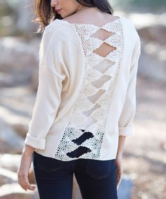 Look at this Pinkblush Cream Cutout-Back Top on #zulily today!