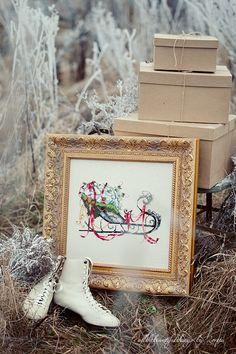 Mirabilia - Santas Sleigh done on belfast platinium linen