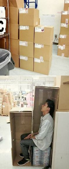 Lean Manufacturing Lol. At least he is eliminating waste of motion and overproduction...