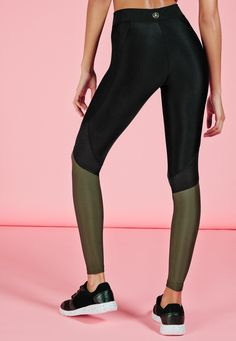 Missguided - active contrast colour gym leggings khaki