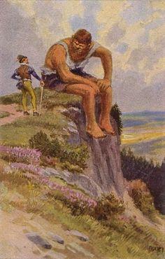 """""""Das tapfere Schneiderlein"""" - Illustration zu Grimms Märchen von Professor Paul Hey, Maler, Grafiker und Illustrator (19.10.1867 in München - 14.10.1952 Gauting)"""