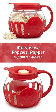 Microwave popcorn gets a healthy spin with this glass popper and optional butter melter. #CookingGadgets