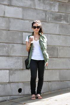Crystalin Marie - military vest, white tee, black skinnies, leopard sandals
