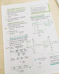 Beautiful Notes on Discontinuity Calculus Notes, Math Notes, School Organization Notes, Study Organization, College Notes, Bullet Journal Notes, Mind Maps, School Study Tips, Pretty Notes