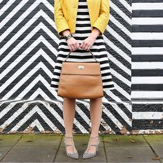 Stripes.  #stripes #black #white #yellow #multicolor #stylish #trend #outfit #ideas #girl #fashion #blogger #stripesonstripes