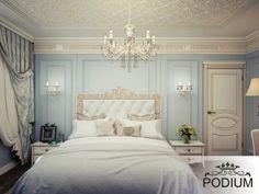 Роскошная голубая спальня