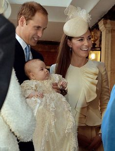 The Duke and Duchess of Cambridge with Prince George, St James Palace, 23 October 2013.