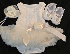 Girl Baby Ivory  Rosette Tutu Onesie Dress, Toddler,Baby Girl Tutu dress, Christening dress,Baptism dress,Wedding, Pettiskirt,  Onesie Tutu