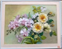 """Картины цветов ручной работы. Ярмарка Мастеров - ручная работа Картина лентами """"Любителям орхидей"""". Handmade."""