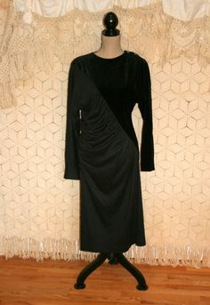 Unique 80s Dress Long Sleeve Cocktail Dress Edgy by MagpieandOtis