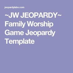 Family games jeopardy 48 ideas for 2019 Bible Games, Bible Trivia, Trivia Games, Pioneer Gifts, Jw Pioneer, Pioneer School, Family Worship Night, Jw Bible